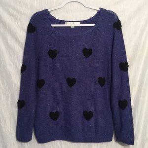 Lauren Conrad polka dot blue sweater M
